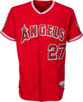 Baseball Collectibles:Uniforms, 2015 Mike Trout Game Worn, Signed Los Angeles Angels of AnaheimJersey Attributed to Nine Home Runs with Player Letter (Photo ...
