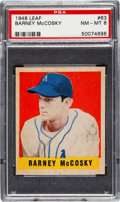 Baseball Cards:Singles (1940-1949), 1948 Leaf Barney McCosky #63 PSA NM-MT 8 - Pop Five, One Higher....