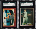 Baseball Cards:Lots, 1955 Bowman & 1957 Topps Mickey Mantle SGC Authentic Pair (2).. ...