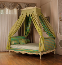 """A Louis XV-Style Creme Piente Day Bed with Canopy Featured in the 1967 """"Good Company"""" Interview Between Zsa Zs..."""