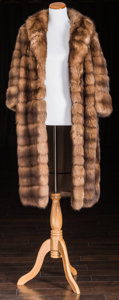 American:Academic, A Zsa Zsa Gabor Fur Coat, Circa 1960s.. Brown, knee-length,three-quarter-length sleeves, small collar, no closure, lined in...