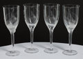 Art Glass:Lalique, Four Lalique Clear and Frosted Glass Angel Champagne Flutes,post-1945. Marks: Lalique, France. 8 inches hig... (Total: 4Items)