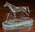 Bronze:European, After Pierre Jules Mene. Stallion. Bronze with brown patina.10-1/8 inches high (25.7 cm) (sculpture). Incised to base: ...
