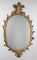Furniture , A Pair of George III-Style Oval Giltwood Mirrors with Prince of Wales Motif, early 20th century. 54 inches high x 33-1/2 inc... (Total: 2 Items)