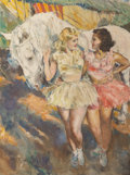 Fine Art - Painting, American:Contemporary   (1950 to present)  , Fried Pal (Hungarian/American, 1893-1976). Two Female Dancerswith White Stallion. Oil on canvas. 39-1/4 x 29-1/2 inches...
