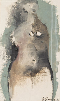 Artist Unknown (20th Century) Nude Study, 1961 Oil on canvas 21 x 12-1/2 inches (53.4 x 31.7 cm)