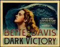 "Movie Posters:Drama, Dark Victory (Warner Brothers, 1939). Linen Finish Title Lobby Card (11"" X 14"").. ..."