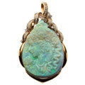Estate Jewelry:Pendants and Lockets, Opal Cameo, Diamond, Gold Pendant. ...