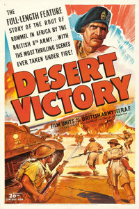 "Desert Victory (20th Century Fox, 1943). One Sheet (27"" X 41""), Title Lobby Card, & Lobby Card (11"" X..."