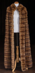 American:Academic, A Zsa Zsa Gabor Fur Cape, Circa 1970s.. Brown, floor-length, onehook and eye closure at neck, lined in dark brown satin, la...