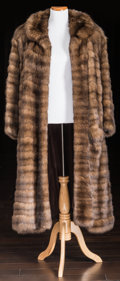 Other, A Zsa Zsa Gabor Fur Coat, Circa 1980s.. Brown, floor-length, long sleeves, small collar, one hook and eye closure at neck, t...