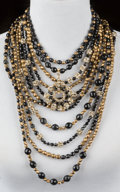 American:Academic, A Zsa Zsa Gabor Necklace, Circa 1980s.. Ornate multi-strand ofblack and bronze-colored beads, interspersed with rhinestone ...