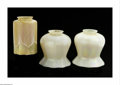 Art Glass:Other , Three American Art Glass Shades Quezal, c.1900 Comprising a pair ofopalescent ribbed baluster form shades, engraved sig... (3 Items)
