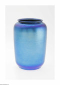Art Glass:Other , An American Art Glass Vase Durand, c.1900 The cylindrical form vasein iridescent blue with green and purple highlights,...