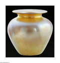 Art Glass:Other , An American Art Glass Vase Durand, c.1900 The bulbous form vase inan iridescent gold/amber ground, fire polished finish...
