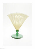 Glass, An American Art Glass Vase. Steuben, c.1928. The pomona green disc foot and double knobbed stem with a ribbed yellow fan v... (Total: 1 item Item)