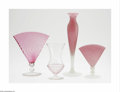 Art Glass:Steuben, Four American Glass Vases Steuben, c.1925 The first, a 'Rosaline'over Alabaster vase, slender body to a narrower neck a... (4 Items)