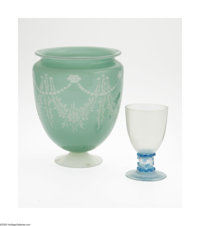 An American Art Glass Vase and Goblet Steuben, c.1925  The first, a Green Jade over Alabaster vase, the body etched wit...