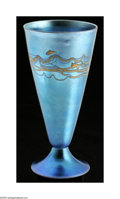 Art Glass:Steuben, An American Art Glass Vase Steuben c.1920 The conical vase on domedfoot with a blue 'aurene' ground with applied iride...