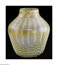 Art Glass:Tiffany , An American Art Glass Vase Tiffany Studios, c.1900 The bulbous formvase shouldering to a short neck in a iridescent tra...
