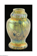 Art Glass:Steuben, An American Art Glass Vase Steuben, c.1910 The baluster formcabinet vase in iridescent Gold Aurene and decorated in gre...