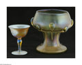 Art Glass:Tiffany , An American Art Glass Vase And Goblet Tiffany Studios, c.1900Comprising a footed 'chalice' style vase in an iridescent ... (2 )
