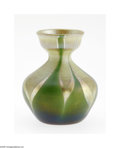 Art Glass:Tiffany , An American Art Glass Vase Tiffany Studios, c.1900 The Favrile bulbous cabinet vase shouldering to a narrow neck and cup...