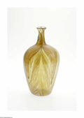 Art Glass:Tiffany , An American Art Glass Vase Tiffany Studios, c.1900 The bulbous formvase in an iridescent translucent 'pulled feather' p...