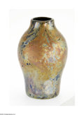 Art Glass:Tiffany , An American Art Glass Vase Tiffany Studios, c.1916 The bulbous formFavrile Cypriote vase in gold with blue and magenta...