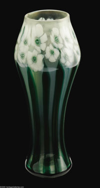 An American Favrile Paperweight Glass Vase Tiffany Studios, c.1912  The baluster form iridescent vase decorated with nar...