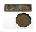 Miscellaneous: , An American Bronze Pen Tray And Change Tray Tiffany Studios, c.1920The Bookmark pattern pen tray depicting a fleur-de-l... (2 Items)