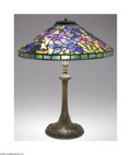 Art Glass:Tiffany , An American Art Glass and Bronze Lamp After Tiffany Studios, c.1920The bronze base lamp with a naturalistic foot and st... (2 Items)