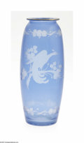 Art Glass:Other , An American Art Glass Vase Hawkes, c.190 The cylindrical form vasein blue cut to clear with an etched pattern depicting...