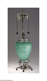 An American Etched Glass And Silver Lamp Steuben, c.1920  The silver-five pointed star shaped foot supports a silver pai...