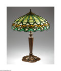 Lighting:Lamps, An American Stained Glass And Metal Lamp. Attributed to Duffner and Kimberly, c.1915. The white metal lamp base with a flo... (Total: 2 Items Item)