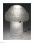 Art Glass:Daum, A French Art Glass Lamp Daum Nancy, c.1920 The base a baluster formof translucent frosted gray glass, the shade a mushr... (3 Items)