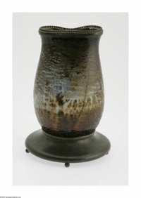An Overlaid And Etched Glass And Bronze Lamp Base Maker unknown, Twentieth Century  The bulbous form scenic vase with a...