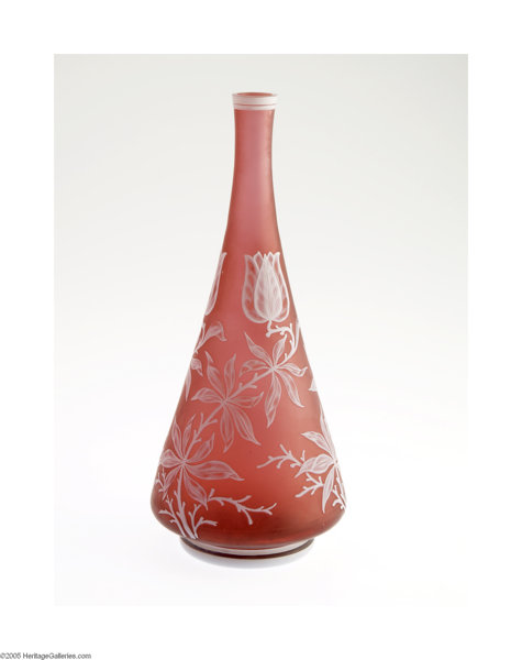 An English Overlaid And Etched Glass Vase Thomas Webb Lot 30157
