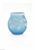 Art Glass:Webb, An English Overlaid And Etched Glass Vase Thomas Webb & Sons, c.1890 The bulbous vase in a blue ground overlaid in ivory...