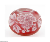 An English Art Glass Vase Thomas Webb & Son, c.1900  The globular cabinet vase in a cranberry ground overlaid in ivo...