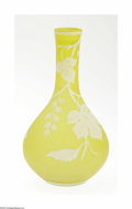 Art Glass:Webb, An English Art Glass Vase Thomas Webb & Sons, ca. 1900 Thegourd shaped vase in a ground of pastel yellow overlaid in iv...