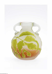 A French Overlaid And Art Glass Vase Emile Galle, c.1890  The flattened round vase with a short flared rim neck centered...