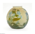 Art Glass:Galle, A French Overlaid and Etched Glass Vase Emile Galle, c.1900 The globular form vase with a short flared rim in an milky o...