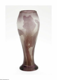 A French Overlaid and Etched Glass Vase Emile Galle, c.1900  The baluster form vase in a frosted clear ground overlaid i...