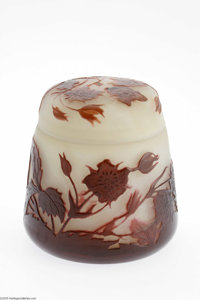 A French Overlaid And Etched Glass Lidded Box Emile Galle, c.1900  The slightly tapering cylindrical box with a round fl...