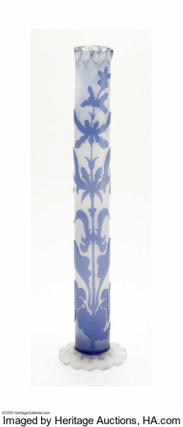 A French Overlaid And Etched Glass Vase Emile Galle C1900 Lot