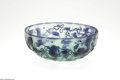 Art Glass:Galle, A French Overlaid and Etched Glass Bowl Emile Galle, c.1900 The wide bowl in a clear green ground overlaid in fire polis...