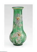 Art Glass:Galle, A French Art Glass Vase E. Galle, c.1900 The vase of bulbous shape, with emerald green ground, with applied enamel styli...
