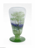 Art Glass:Daum, A French Overlaid, Etched And Enamelled Glass Vase Daum Nancy,c.1900 The round foot below a knobbed stem supporting a f...