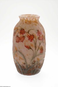 A French Overlaid And Etched Glass Vase Daum Nancy, c.1900  The ovoid-form vase with a flared rim cased and internally d...